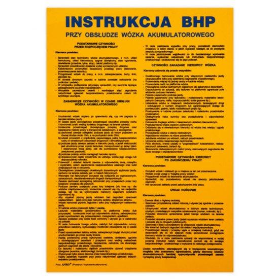 """Magazynowanie - instrukcja BHP """"przy obsłudze wózka akum."""" Z-IPT03-P rozm. 330x460 ANRO"""