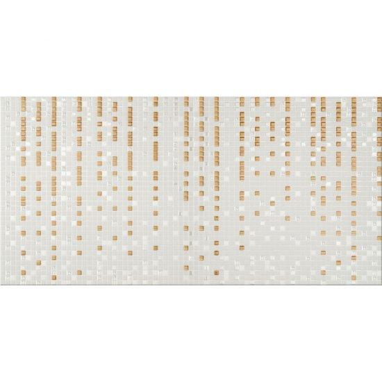Płytka ścienna ART mozaika szaro-złota inserto geo błyszcząca 29,7x60 gat. I