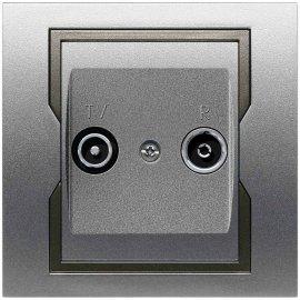 Gniazdo ścienne QUATTRO RTV końcowe GPT R-TV srebrny grafitowy Elektro-plast N.