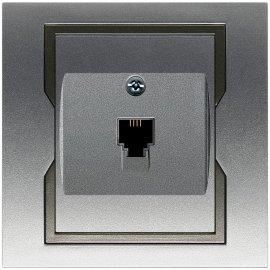 Gniazdo ścienne QUATTRO telefoniczne pojedyncze GPT 4c/6p srebrny grafitowy Elektro-plast N.