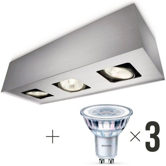 Lampa sufitowa 3xGU10 TEMPO 56233/48/PN + 3 szt żarówek LED 4,6W (50 W) biała ciepła Philips