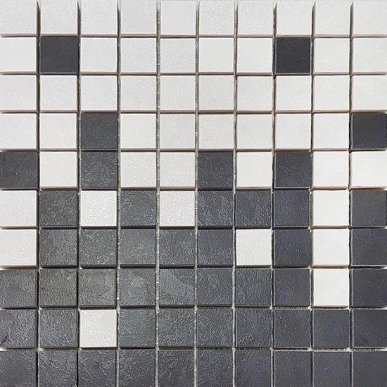 Gres szkliwiony EQUINOX biało-czarny mozaika mix mat 29x29 gat. I