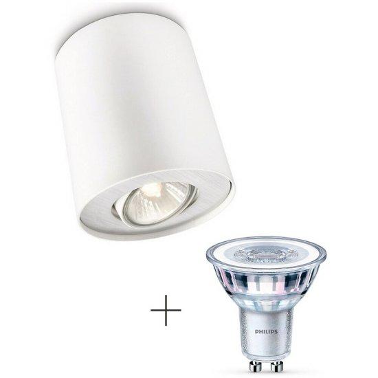 Lampa sufitowa 1xGU10 PILLAR 56330/31/PN + żarówka LED 4,6W (50 W) biała ciepła Philips