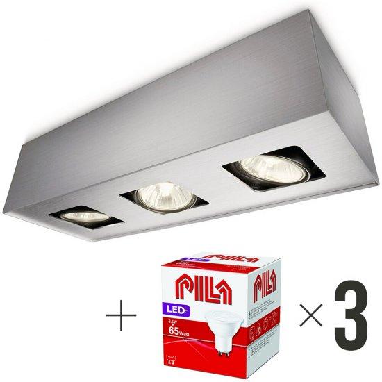 Lampa sufitowa 3xGU10 TEMPO 56233/48/PN Philips + 3 szt żarówek LED 6,5W biała ciepła Pila