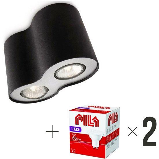 Lampa sufitowa 2xGU10 PILLAR 56332/30/PN Philips + 2 szt żarówek LED 6,5W biała ciepła Pila