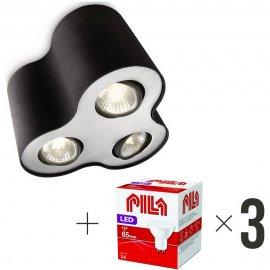 Lampa sufitowa 3xGU10 PILLAR 56333/30/PN Philips + 3 szt żarówek LED 6,5W biała ciepła Pila