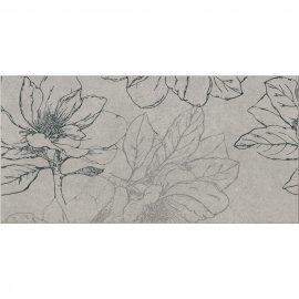 Gres szkliwiony INDIAN SUMMER szary inserto kwiaty B mat 29,7x59,8 gat. I