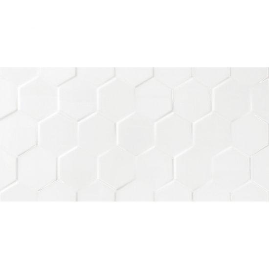 Płytka ścienna WHTIE HEXAGON SHINY biała błyszcząca 30x60 gat. I