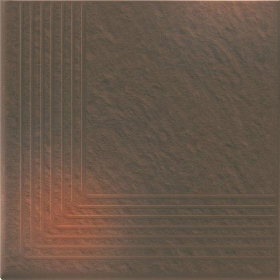 Klinkier SHADOW BROWN brązowy stopnica narożna 3-D mat 30x30 gat. II
