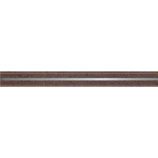 Gres szkliwiony MIKA brązowy listwa metal 5,5x59,8 gat. I