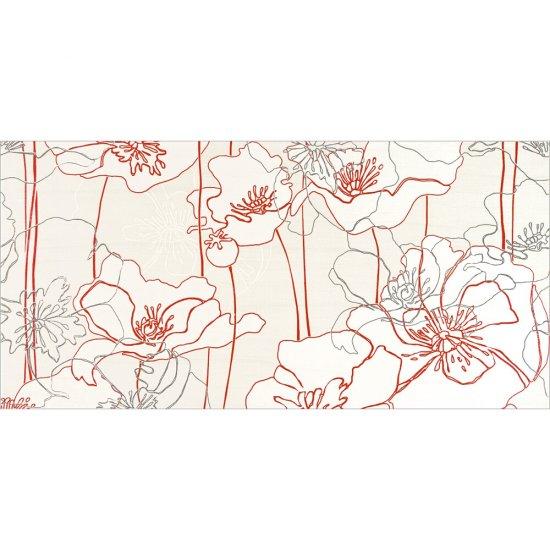 Płytka ścienna INFINITA kremowa inserto kwiaty B błyszcząca 29x59,3 gat. I
