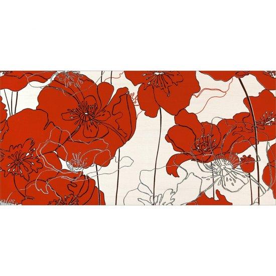 Płytka ścienna INFINITA kremowa inserto kwiaty A błyszcząca 29x59,3 gat. I