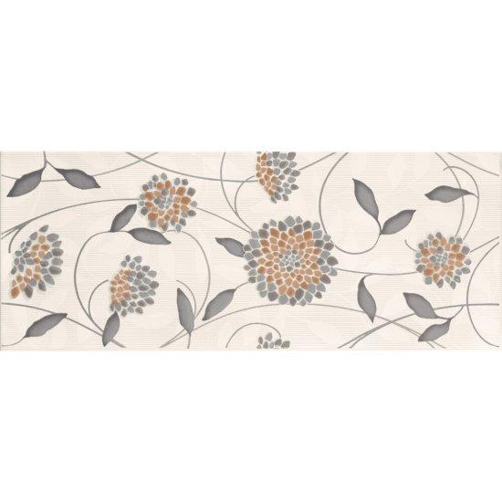 Płytka ścienna SYNTHIA szara inserto kwiatek błyszcząca 20x50 gat. I