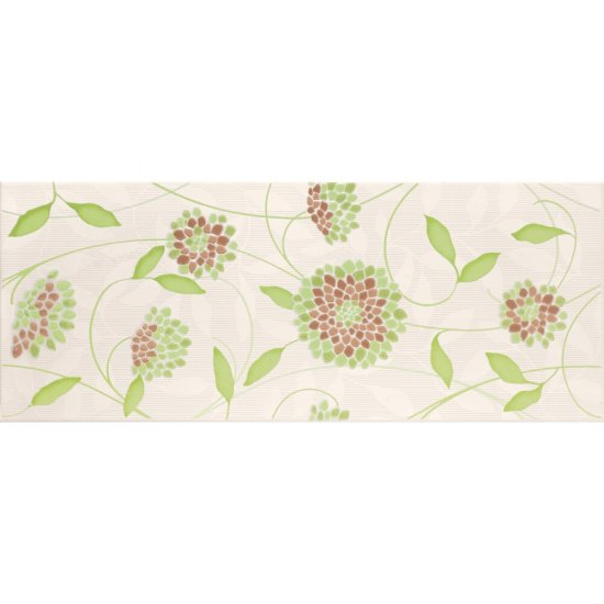 Płytka ścienna SYNTHIA zielona inserto kwiatek błyszcząca 20x50 gat. I