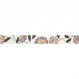 Płytka ścienna SYNTHIA biała listwa kwiatek błyszcząca 5,3x50 gat. I