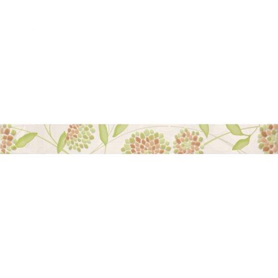 Płytka ścienna SYNTHIA zielona listwa kwiatek błyszcząca 5,3x50 gat. I