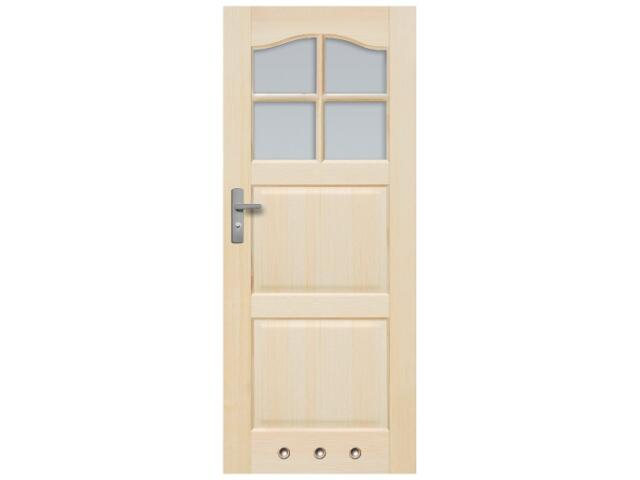 Drzwi sosnowe Tryplet przeszklone (4 szyby) z tulejami 80 prawe Radex