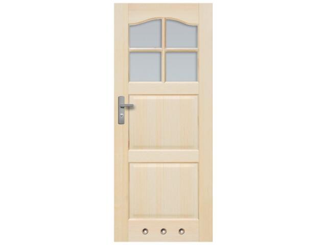 Drzwi sosnowe Tryplet przeszklone (4 szyby) z tulejami 90 lewe Radex