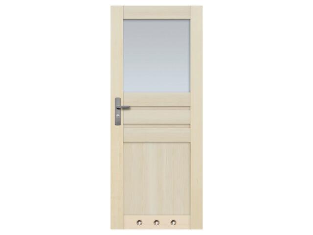 Drzwi sosnowe Madryt przeszklone (1 szyba) z tulejami 80 lewe Radex