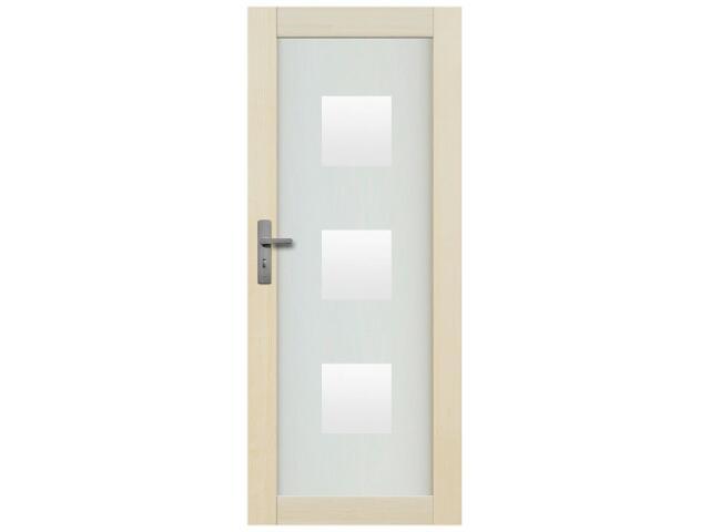 Drzwi sosnowe Lazio przeszklone z aplikacją kwadraty pełne 90 lewe Radex