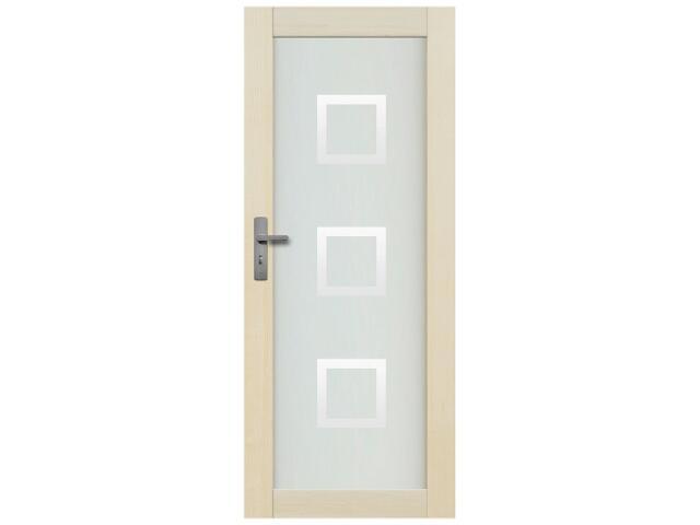 Drzwi sosnowe Lazio przeszklone z aplikacją kwadraty 80 prawe Radex