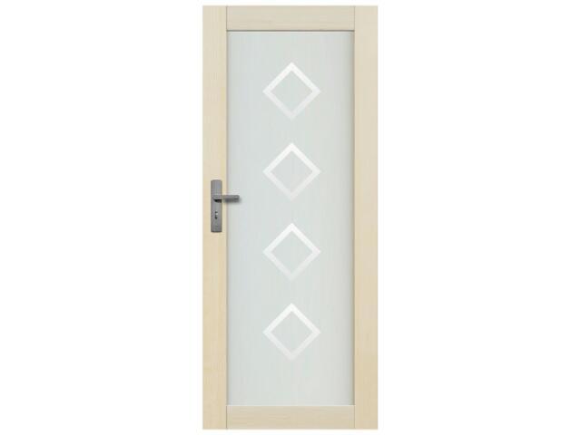 Drzwi sosnowe Lazio przeszklone z aplikacją romby 90 prawe Radex