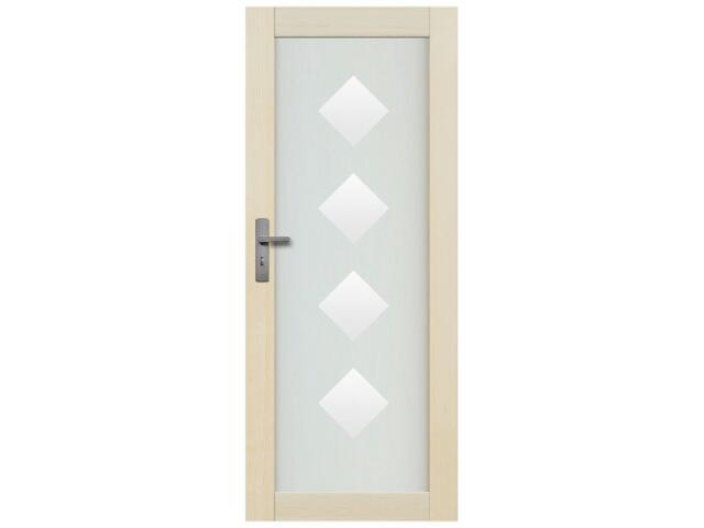 Drzwi sosnowe Lazio przeszklone z aplikacją romby pełne 100 lewe Radex