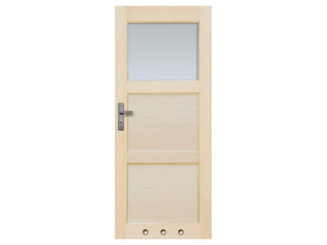 Drzwi sosnowe Bort przeszklone (1 szyba) z tulejami 90 lewe Radex