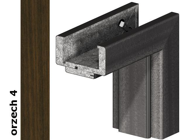 Ościeżnica regulowana 180-200mm 80 lewa okleina Dur orzech 4 zawiasy srebrne Verte