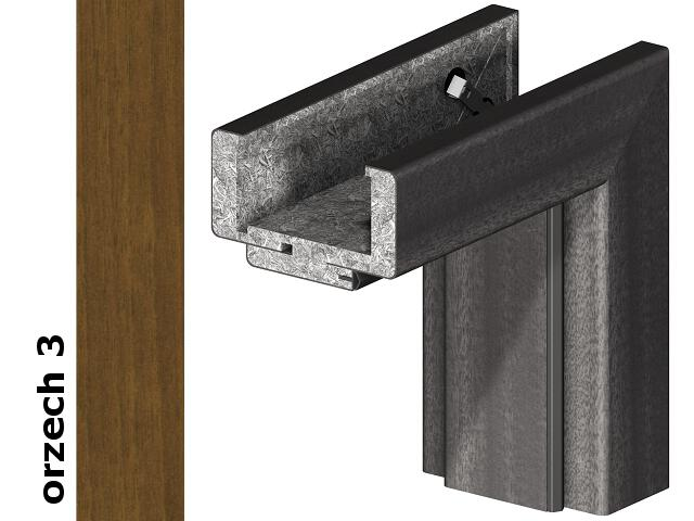 Ościeżnica regulowana 75-95mm 60 lewa okleina Dur orzech 3 zawiasy srebrne Verte