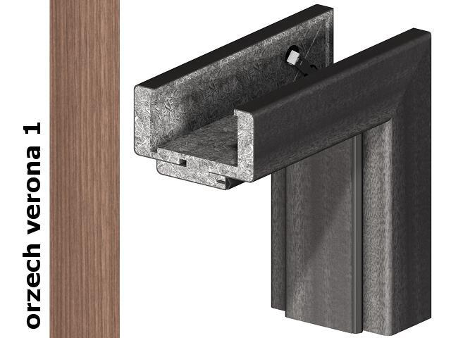 Ościeżnica regulowana 200-220mm 80 lewa okleina Decor orzech 1 zawiasy srebrne Verte