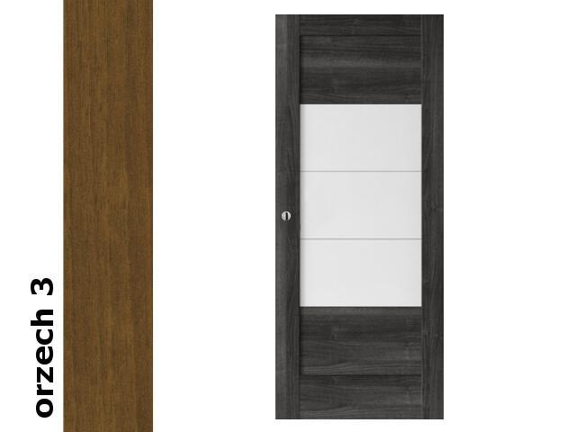 Drzwi przesuwne bezprzylgowe okleina Dur orzech 3 B7 90 pochwyt okrągły srebrny Verte