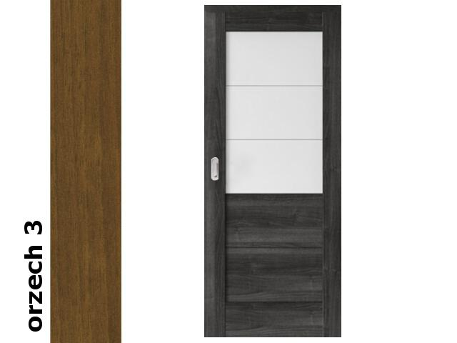 Drzwi przesuwne okleina Dur orzech 3 B3 80 pochwyt podłużny srebrny Verte