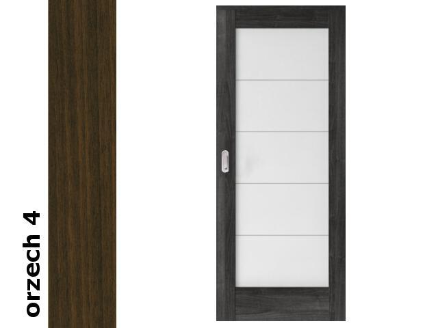 Drzwi przesuwne bezprzylgowe okleina Dur orzech 4 B5 70 pochwyt podłużny srebrny Verte