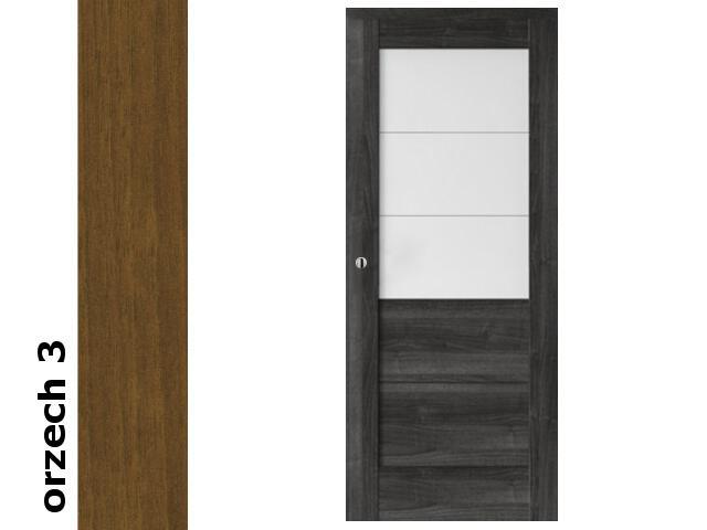 Drzwi przesuwne bezprzylgowe okleina Dur orzech 3 B3 80 pochwyt okrągły srebrny Verte