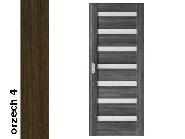 Drzwi przesuwne bezprzylgowe okleina Dur orzech 4 D7 80 pochwyt podłużny srebrny Verte