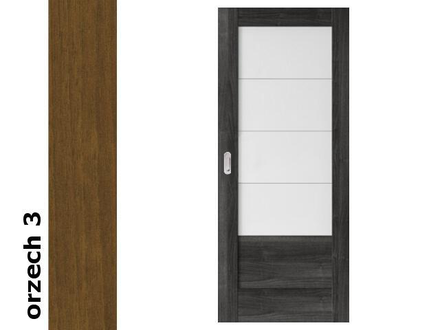 Drzwi przesuwne bezprzylgowe okleina Dur orzech 3 B4 80 pochwyt podłużny srebrny Verte