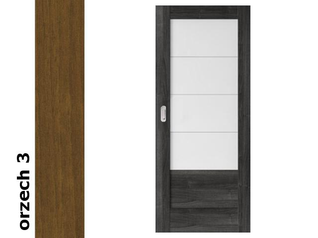 Drzwi przesuwne bezprzylgowe okleina Dur orzech 3 B4 70 pochwyt podłużny srebrny Verte