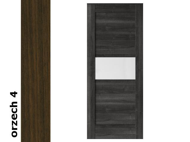 Drzwi przesuwne bezprzylgowe okleina Dur orzech 4 B6 70 zamek hakowy srebrny Verte