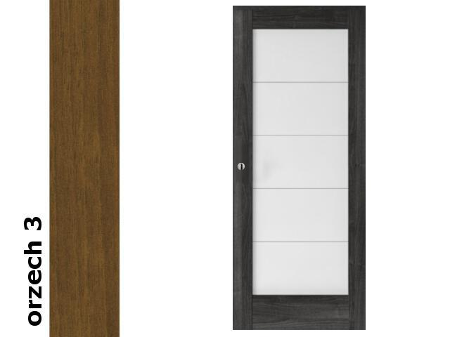 Drzwi przesuwne bezprzylgowe okleina Dur orzech 3 B5 80 pochwyt okrągły srebrny Verte