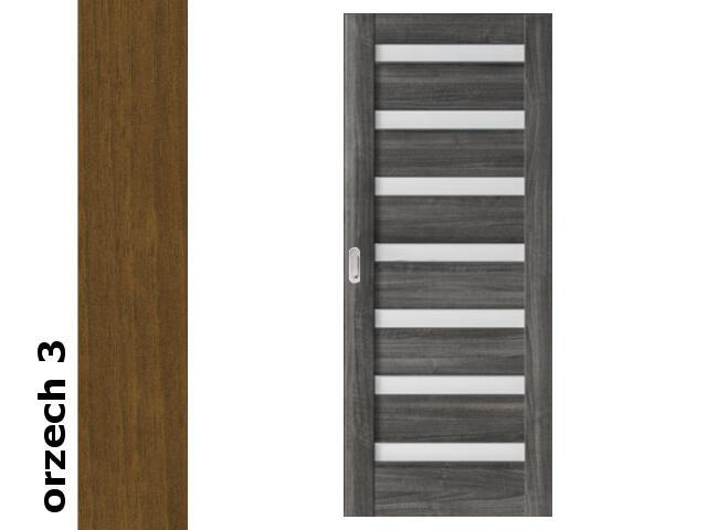 Drzwi przesuwne bezprzylgowe okleina Dur orzech 3 D7 80 pochwyt podłużny srebrny Verte