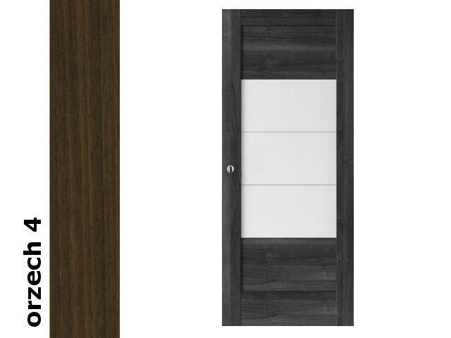 Drzwi przesuwne bezprzylgowe okleina Dur orzech 4 B7 80 pochwyt okrągły srebrny Verte