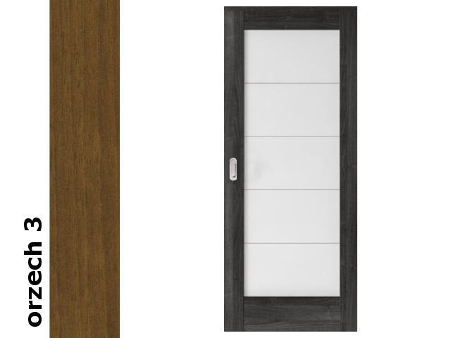 Drzwi przesuwne bezprzylgowe okleina Dur orzech 3 B5 80 pochwyt podłużny srebrny Verte
