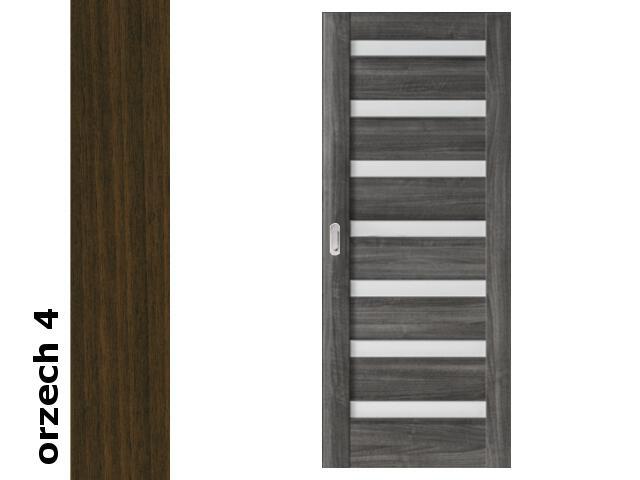 Drzwi przesuwne bezprzylgowe okleina Dur orzech 4 D7 90 pochwyt podłużny srebrny Verte