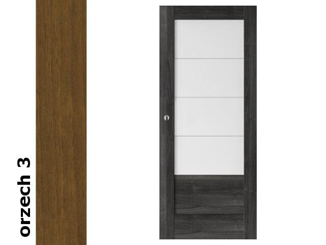 Drzwi przesuwne bezprzylgowe okleina Dur orzech 3 B4 80 pochwyt okrągły srebrny Verte