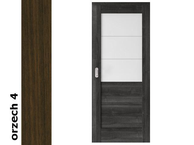Drzwi przesuwne bezprzylgowe okleina Dur orzech 4 B3 80 pochwyt podłużny srebrny Verte