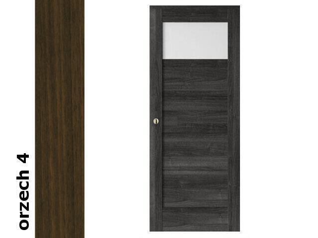 Drzwi przesuwne bezprzylgowe okleina Dur orzech 4 B1 70 pochwyt okrągły złoty Verte