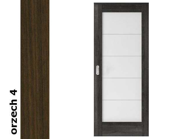 Drzwi przesuwne bezprzylgowe okleina Dur orzech 4 B5 90 pochwyt podłużny srebrny Verte