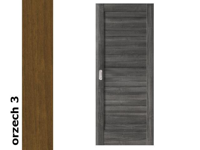 Drzwi przesuwne bezprzylgowe okleina Dur orzech 3 B0 90 pochwyt podłużny srebrny Verte