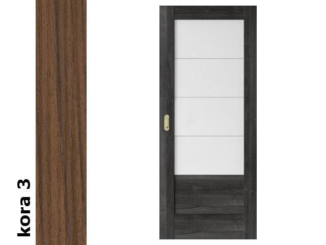 Drzwi przesuwne bezprzylgowe okleina Cortex kora 3 B4 80 pochwyt podłużny złoty Verte
